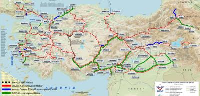 2023 TCDD Konvansiyonel Demiryolu Haritası
