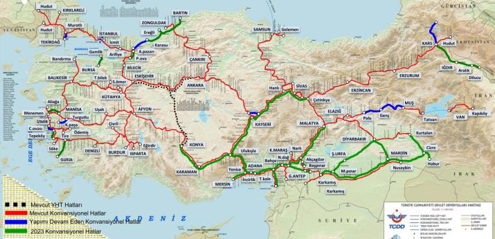 17 - 2023 TCDD Konvansiyonel Demiryolu Haritası