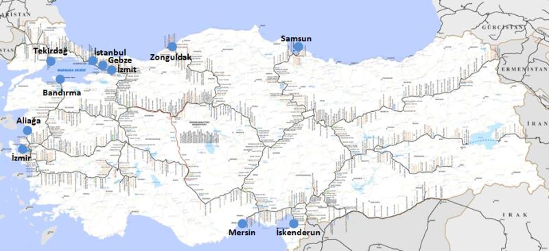 Türkiye Demiryolu Bağlantılı Limanlar, Harita: TCDD, İllustrasyon: Rail Turkey