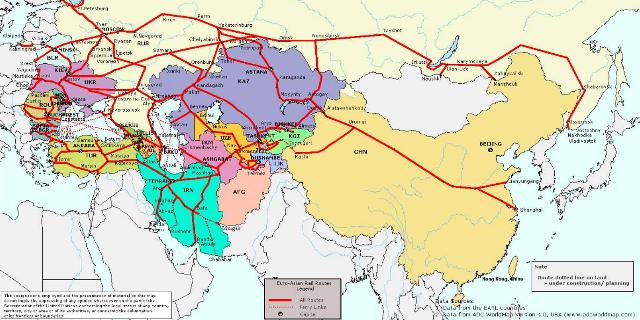 Avrupa Asya Demiryolu Bağlantıları, Harita: Unece