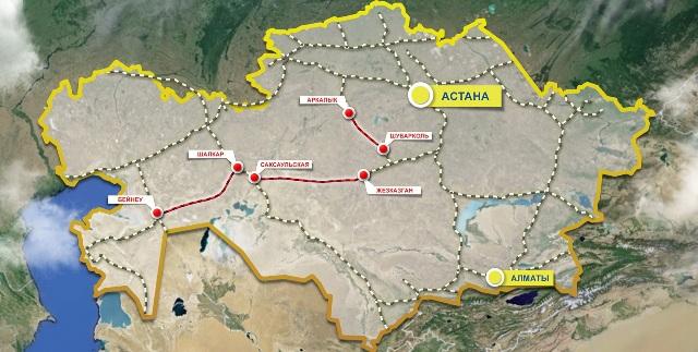 159 - Kazakistan demiryolu haritası - KTZ