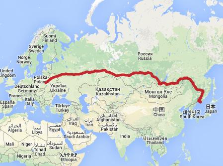 Çin - Avrupa Demiryolu Doğu Rotası. Harita: ecotransit.org