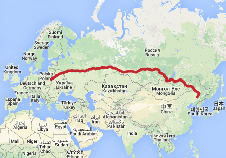Çin - Avrupa Demiryolu Kuzey Rotası. Harita: ecotransit.org