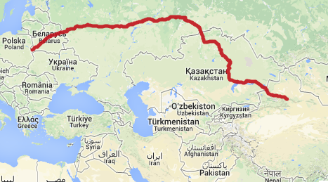 Çin - Avrupa Demiryolu Güney Rotası. Harita: ecotransit.org