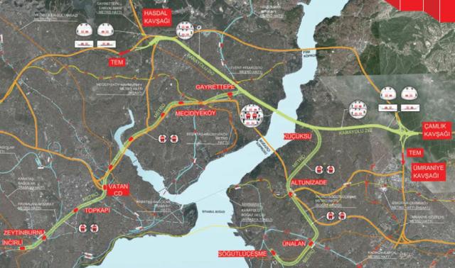 Büyük İstanbul Tüneli Güzergahı