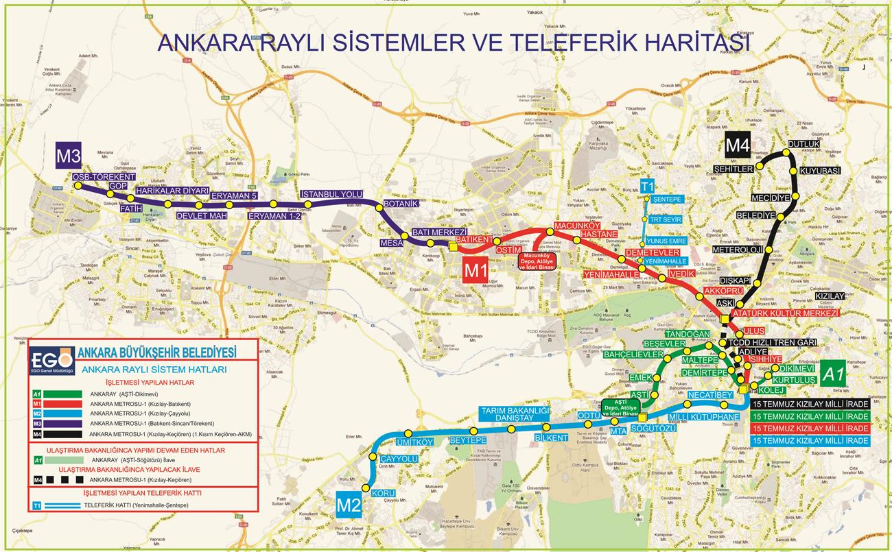 Ankara raylı sistemler haritası