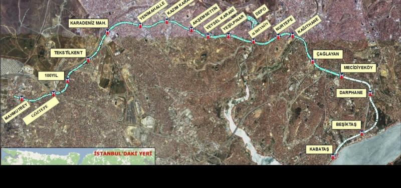 449 - Kabataş Mecideyöky Mahmutbey Metro Haritası