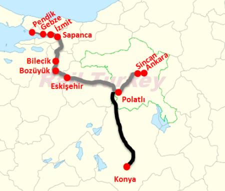 Polatlı Konya Hızlı Tren Haritası