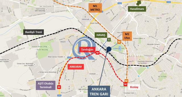 Ankara Hızlı Tren Ulaşım Haritası