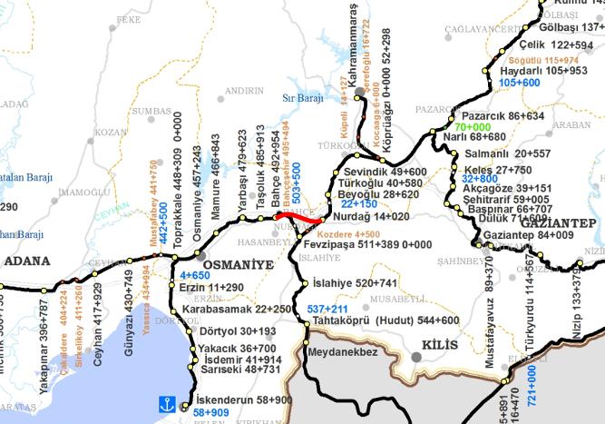 Bahce Nurdag Railway Route Map