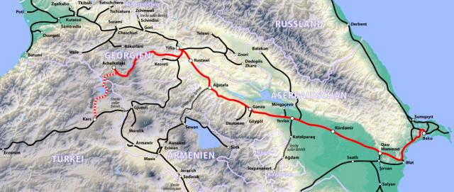 Baku Tbilisi Kars Railway Map