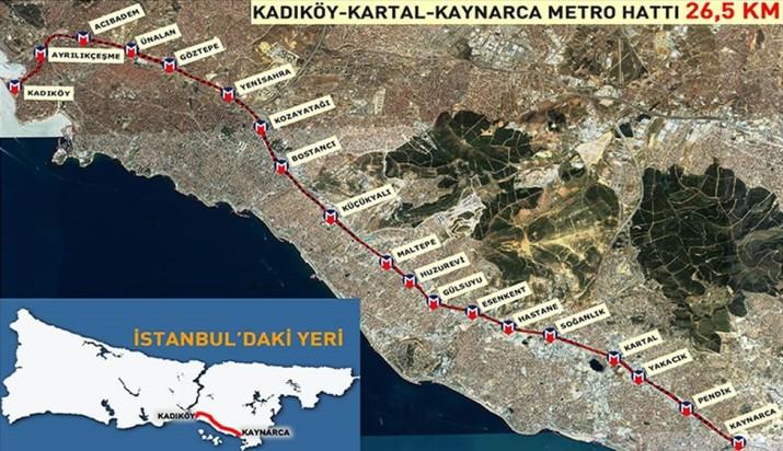 418 - Kadıköy Kartal Kaynarca Metro Haritası