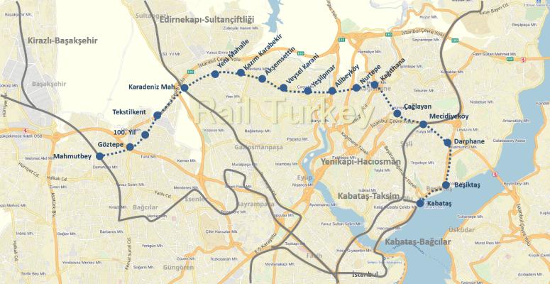 Kabataş Mecidiyeköy Mahmutbey Metro Güzergahı