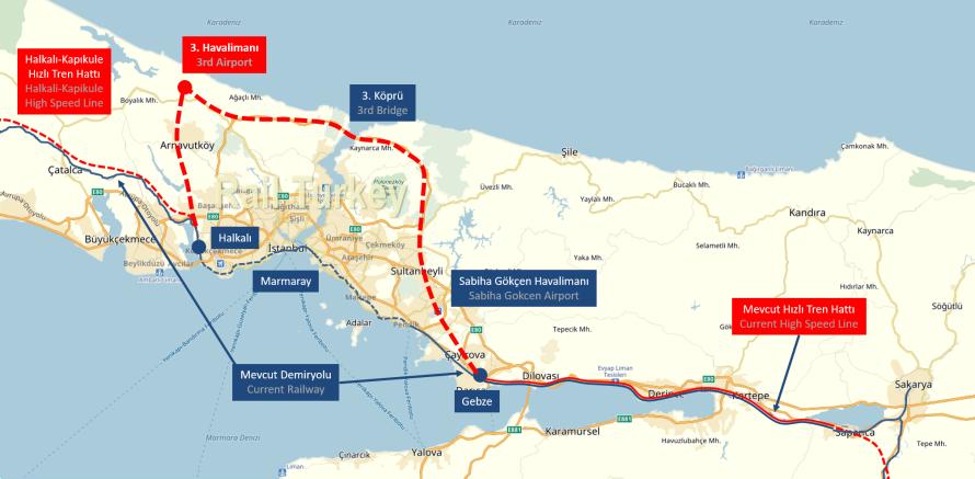 Gebze - 3. Köprü - Halkalı hızlı tren hattı projesi