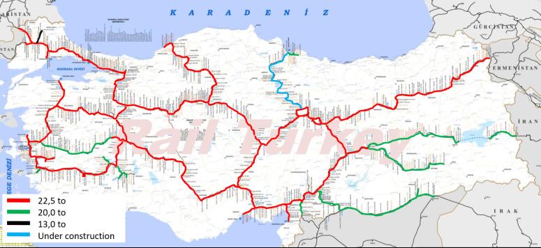 Türkiye demiryolları dingil basıncı haritası
