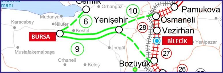322 - Bursa Bilecik hızlı tren hattı - TCDD
