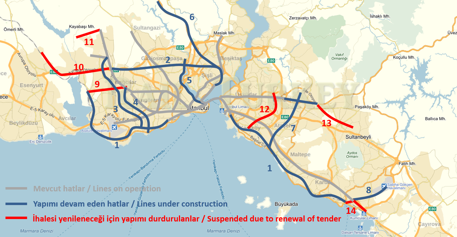 Istanbul Subway Map 2015.Which Metro Projects Suspended Which Continue In Istanbul Rail