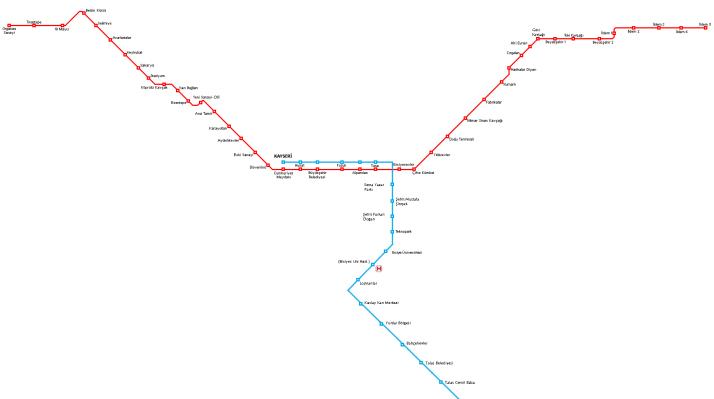 Kayseri Tramvay Ağı Haritası