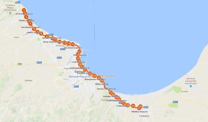 Samsun Tramvay Haritası