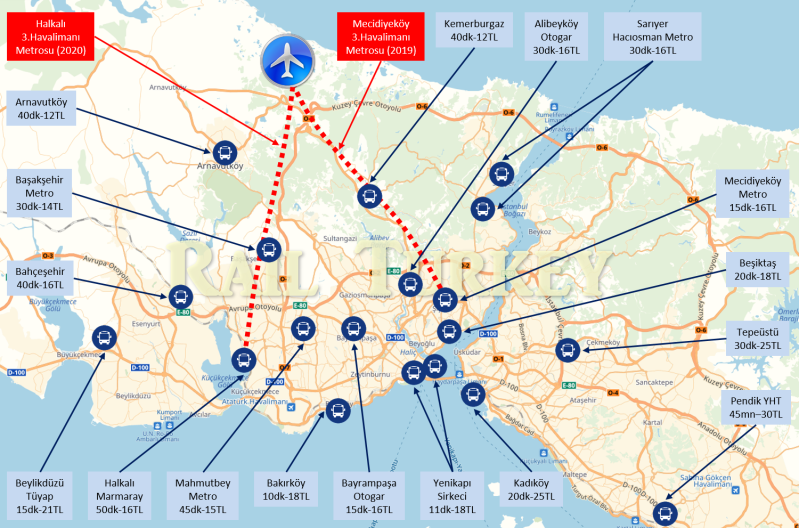 İstanbul 3. Havalimanı Toplu Ulaşım Haritası
