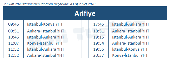Arifiye high speed train station timetable