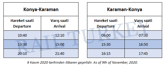 Karaman train station connected buses timetable
