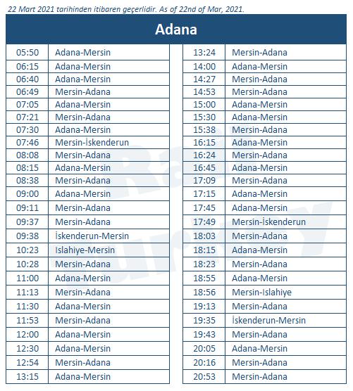 Adana train station timetable