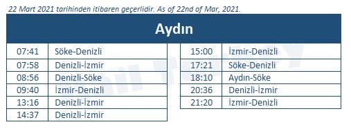 Aydin train station timetable