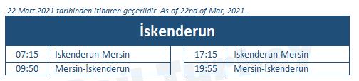 Iskenderun train station timetable