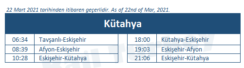 Kutahya train station timetable