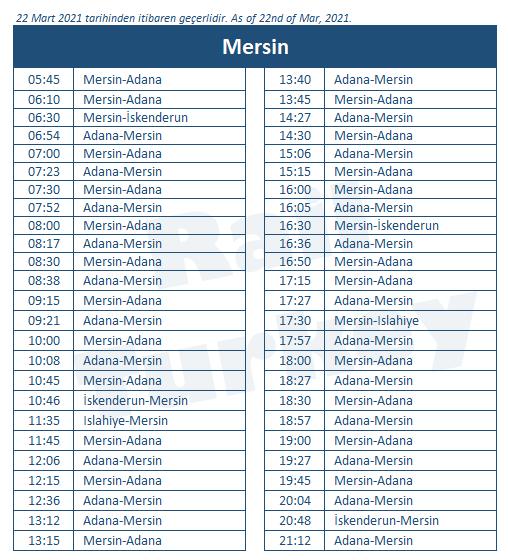 Mersin train station timetable