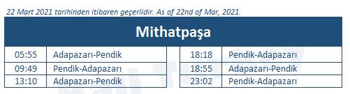 Mithatpasa train station timetable