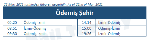 Odemis train station timetable