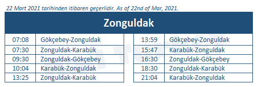 Zonguldak tren garı tren saatleri