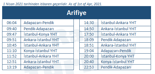 Arifiye high speed train station timetable
