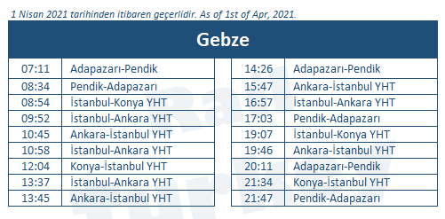 Gebze train station timetable