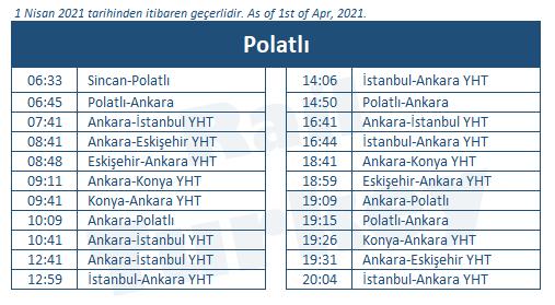 Polatli high speed train station timetable