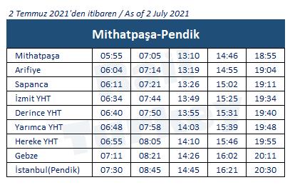 Pendik Adapazarı treni saatleri