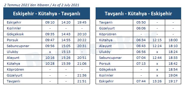 Eskisehir Kutahya train timetable